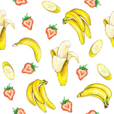 Sticker Fruit pattern. Seamless fruits texture of banana and strawberry on a white background. Watercolor illustration. Handwork