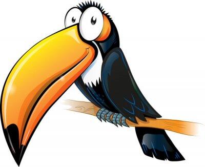 Sticker fun toucan cartoon isolated on white.