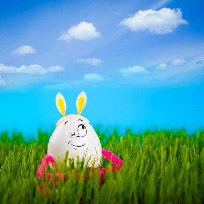 Funny Easter egg girl with rabbit ears