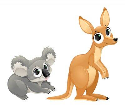 Sticker Funny marsupials, koala and kangaroo