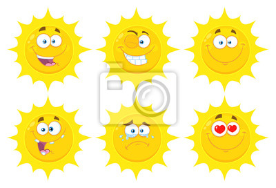 24aa79b1bb74 Sticker Funny Yellow Sun Cartoon Emoji Face Series Character Set 1. Flat  Design Collection Isolated