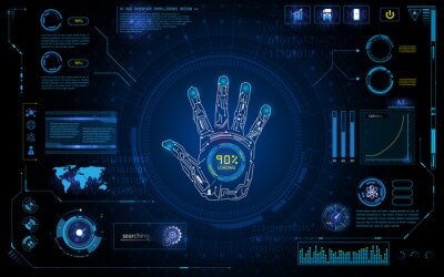Sticker futuristic hand scan identify with hud element interface screen monitor design background template