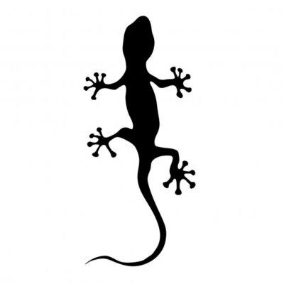 Sticker gecko in black silhouette vector illustration