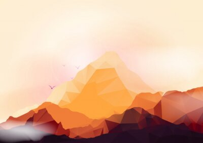 Sticker Geometric Mountain and Forest Background - Vector Illustration