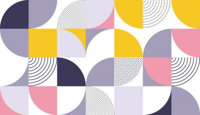 Sticker Geometric pattern vector background with Scandinavian abstract color or Swiss geometry prints of rectangles, squares and circles shape design
