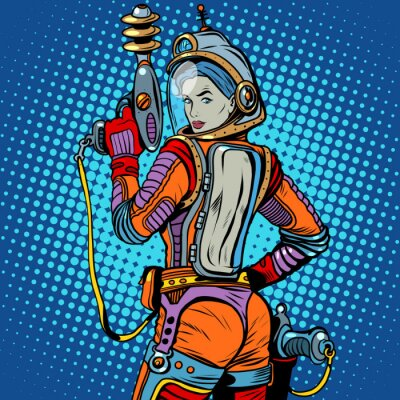 Sticker Girl space marine science fiction retro