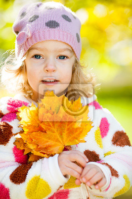 Sticker Girl with yellow leaves