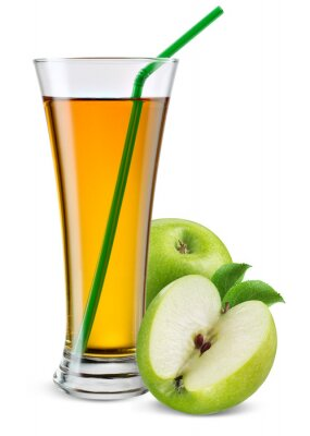 Sticker Glass of apple juice with fruit isolated on white.