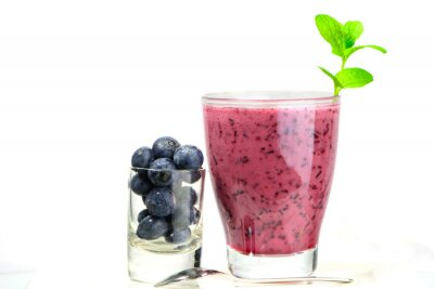 Sticker glass of Fresh Blueberry smoothie