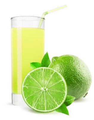 Sticker glass of lime juice isolated on white background