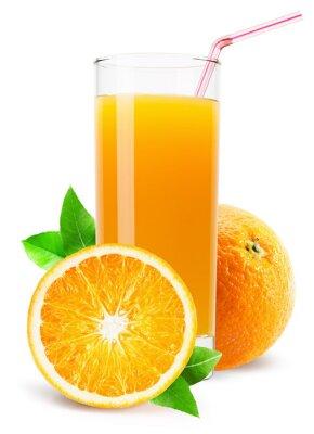 Sticker glass of orange juice isolated on white background
