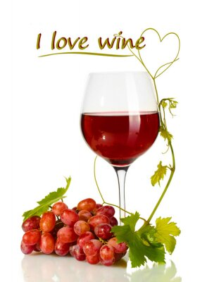 Sticker Glass of wine and ripe grapes with I love wine text isolated