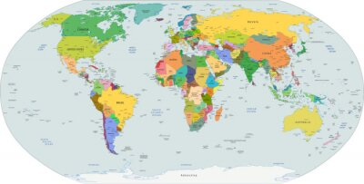 Sticker Global political map of the world, vector