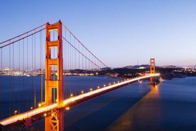 Sticker gold gate bridge in blue sky at dawn