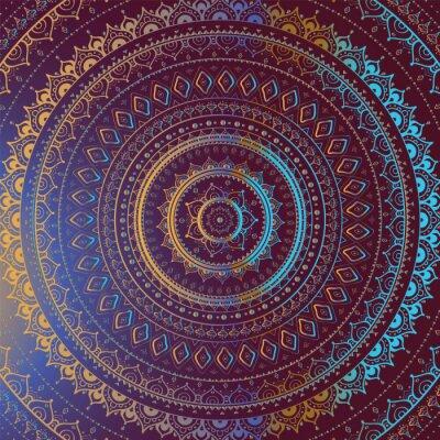 Sticker Gold Mandala. Indian decorative pattern.