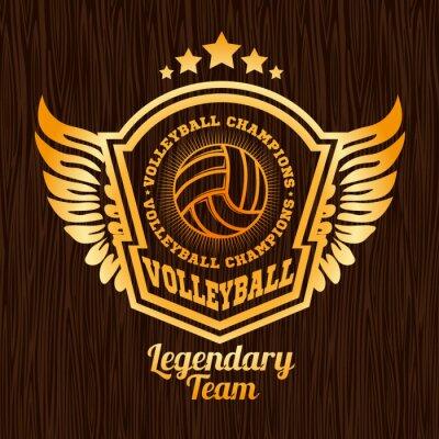 Sticker Gold volleyball emblem on the wooden texture.