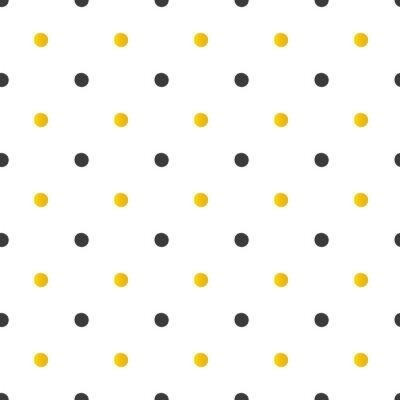 Sticker Golden and black polka dots seamless pattern background.
