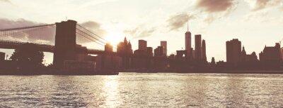 Sticker Golden Sunset Over Manhattan Skyline, NYC, USA