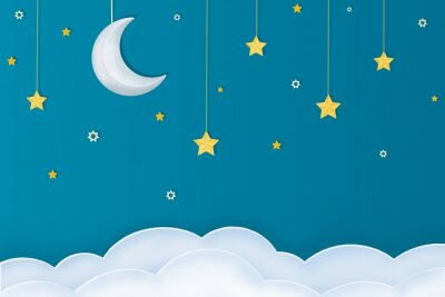 Sticker Goodnight layout.  Paper arts of moon, stars and clouds on a blue background.