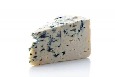 Sticker  Gorgonzola cheese isolated on white