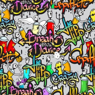 Sticker Graffiti characters seamless pattern