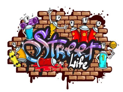 Sticker Graffiti word characters composition