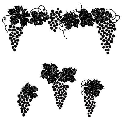 Sticker Grapes engraved design set Vine grape ornament element decor set.