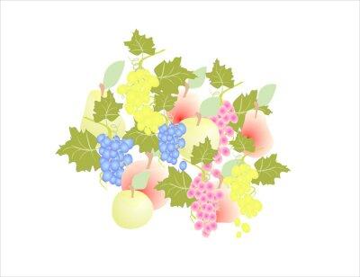 Sticker grapes pear apple - fruit autumn,