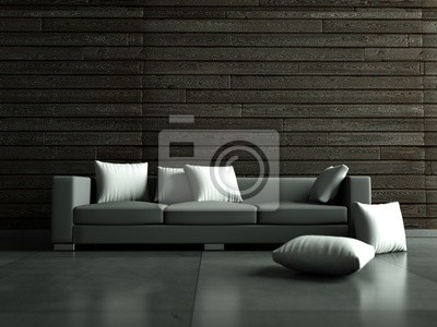Sticker gray sofa in front of wooden wall