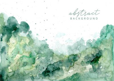 Sticker green abstract watercolor texture background