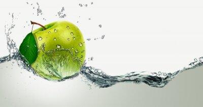 Sticker Green Apple amid splashing water.