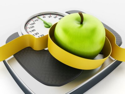 Sticker Green apple and tape measure on weight scale