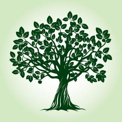 Sticker Green Apple Tree. Vector Illustration.