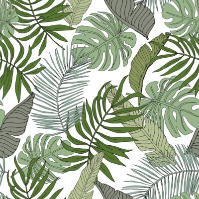 Sticker  Green banana, monstera, palm leaves with white background. Vector seamless pattern. Tropical jungle foliage illustration. Exotic plants greenery. Summer beach floral design. Paradise nature graphic