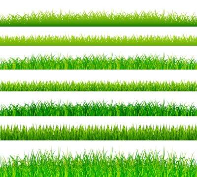 Sticker Green grass borders set