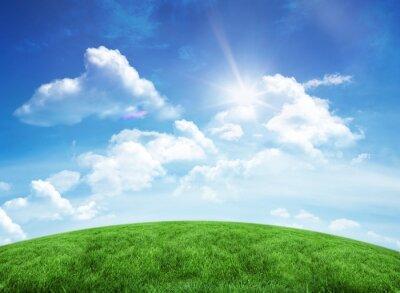 Sticker Green hill under blue sky