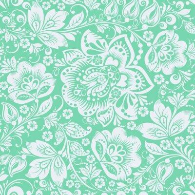 Sticker Green Ornamental Flowers Seamless Pattern
