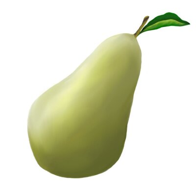 Sticker Green pear on a white background