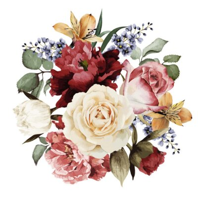 Sticker Greeting card with roses, watercolor, can be used as invitation