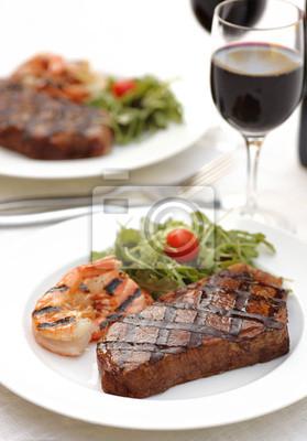 Sticker Grleed sirloin steak and shrimps