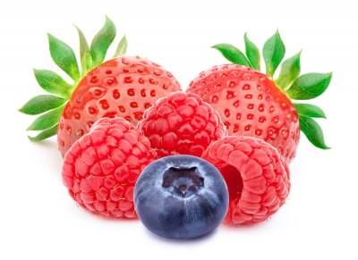 Sticker Group of berries isolated on white background with clipping path