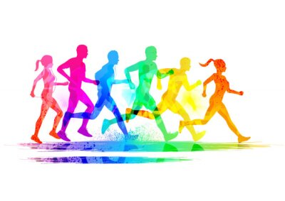Sticker Group Of Runners