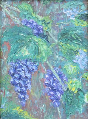 Sticker growing grapes, oil painting