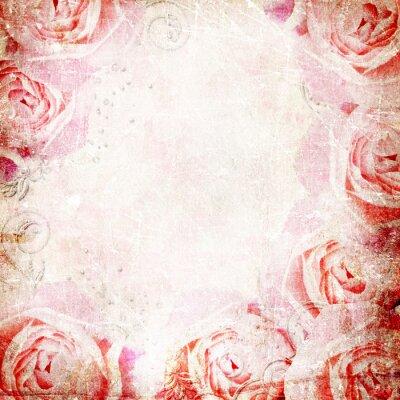 Sticker Grunge Beautiful Roses Background ( 1 of set)