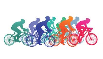 Sticker Gruppe von Radfahrer im Fahrradrennen