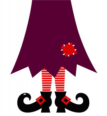Sticker Halloween Witch legs vector isolated on white