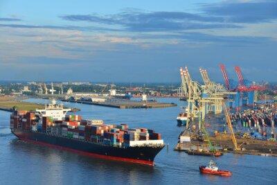 Sticker Hamburger Hafen, Containerschiff, Container, Schlepper, Vorhafen, Elbe, Hamburg