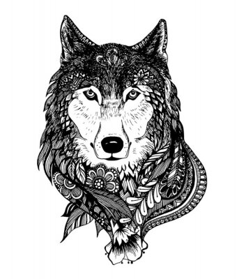 Sticker Hand drawn abstract wolf vector illustration
