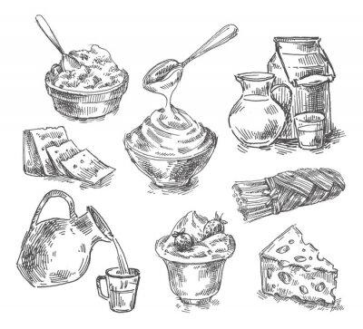 Sticker hand drawn dairy products, milk, cheese. sketch