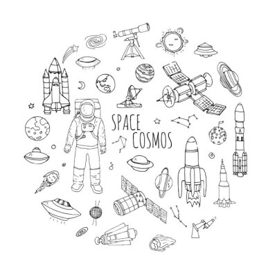 Sticker Hand drawn doodle Space and Cosmos set Vector illustration Universe icons Space concept elements Rocket Space ship symbols collection Solar system Planets Galaxy Milky Way Astronaut Tech freehand icon